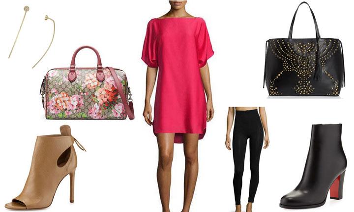 Pink-Dress-Nude-Bootie-Black-Bootie-Black-Studded-Bag