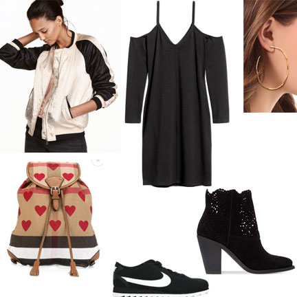 Weekend-Outfit-Black-Dress-Bomber-Jacket-Burberrry-handbag